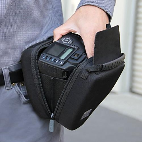 Quick Access DSLR Hard Shell Case Molded Protection, Padded Interior, Holster Belt Loop and by Works SL2-Pentax K-70 and