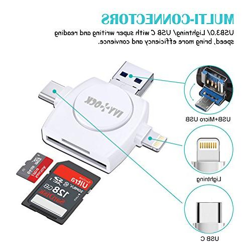 SDHC & SD Reader Memory Camera Reader iPhone/iPad/Galaxy C,USB Connector Trail Camera