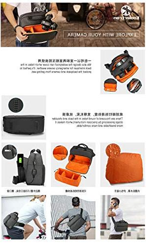 Koolertron Professional Backpack with and Padded Crossbody for Canon Nikon Sony DSLR Mirrorless, Lens & Camera
