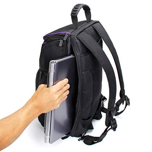 USA Digital Camera Backpack Compartment featuring Padded Custom Dividers, Tripod Cover. Durability Storage DSLR Cameras