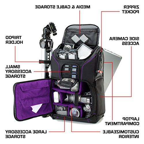 USA Camera Backpack Compartment Dividers, Tripod Holder, Rain Cover. Storage - Compatible w/Many DSLR