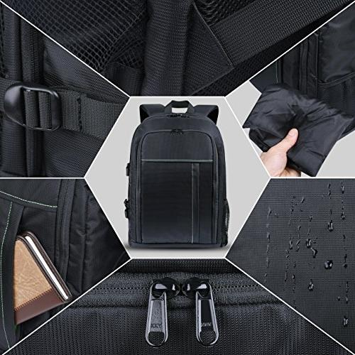 "Estarer SLR/DSLR Camera for Canon Sony Digital 15.6"" Laptop w/Rain Camera Bag"