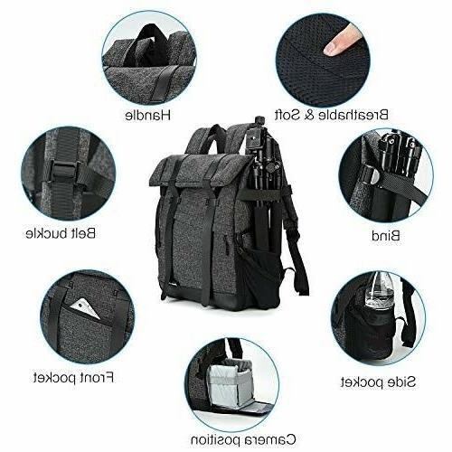 Koolertron SLR DSLR Camera Backpack USB Charge Waterproof