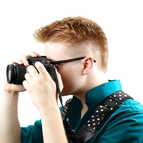 USA GEAR DSLR Strap Harness with Polka Pattern and - Compatible with Fujifilm, Point & Shoot,