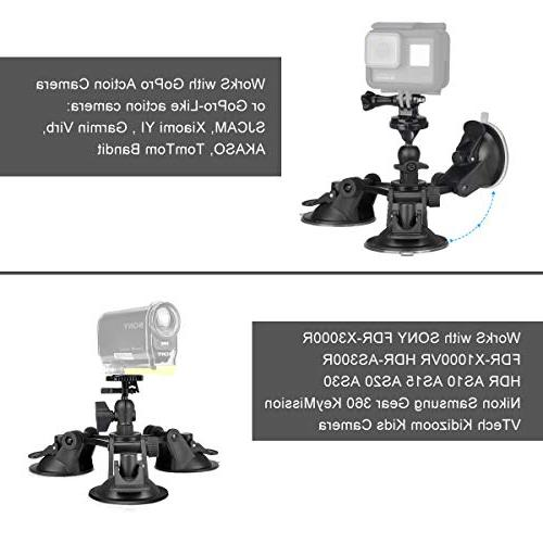 Camera Cup Triple Head Compatible with GoPro Sony Key Camera Car Mount Holder Windshield Window