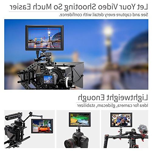 FEELWORLD T756 7 Inch DSLR Camera Monitor 4K Input Video LCD IPS External Display Focus False Exposure