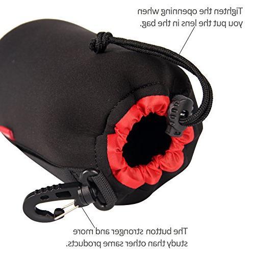 POLAM-FOTO Lens Pouch for Protect Lens Soft Thick Black Plush Inside Tamron, Sigma, etc.
