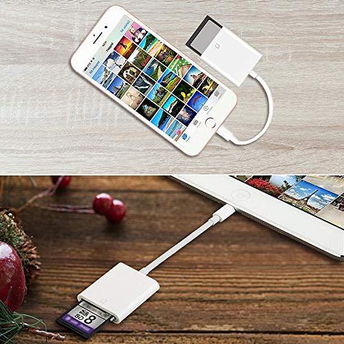 Aiguozer Camera Reader Adapter iPhone iPad Game Camera Card Viewer iPhone 5/5s/6/6s/6Plus/7/7s/7Plus/8/8Plus/X/iPad APP Needed
