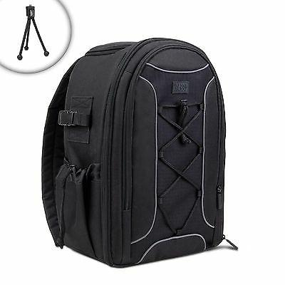 USA Gear S16 Soft Padded SLR Camera Backpack Case with Tripo