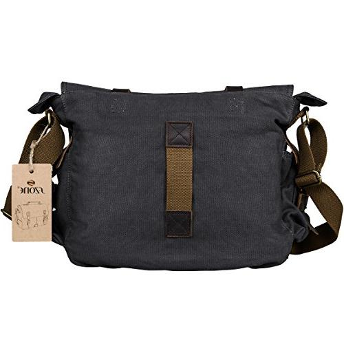 S-ZONE Vintage Leather Trim DSLR Camera Bag