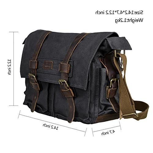 S-ZONE Canvas Genuine Leather Camera Shoulder