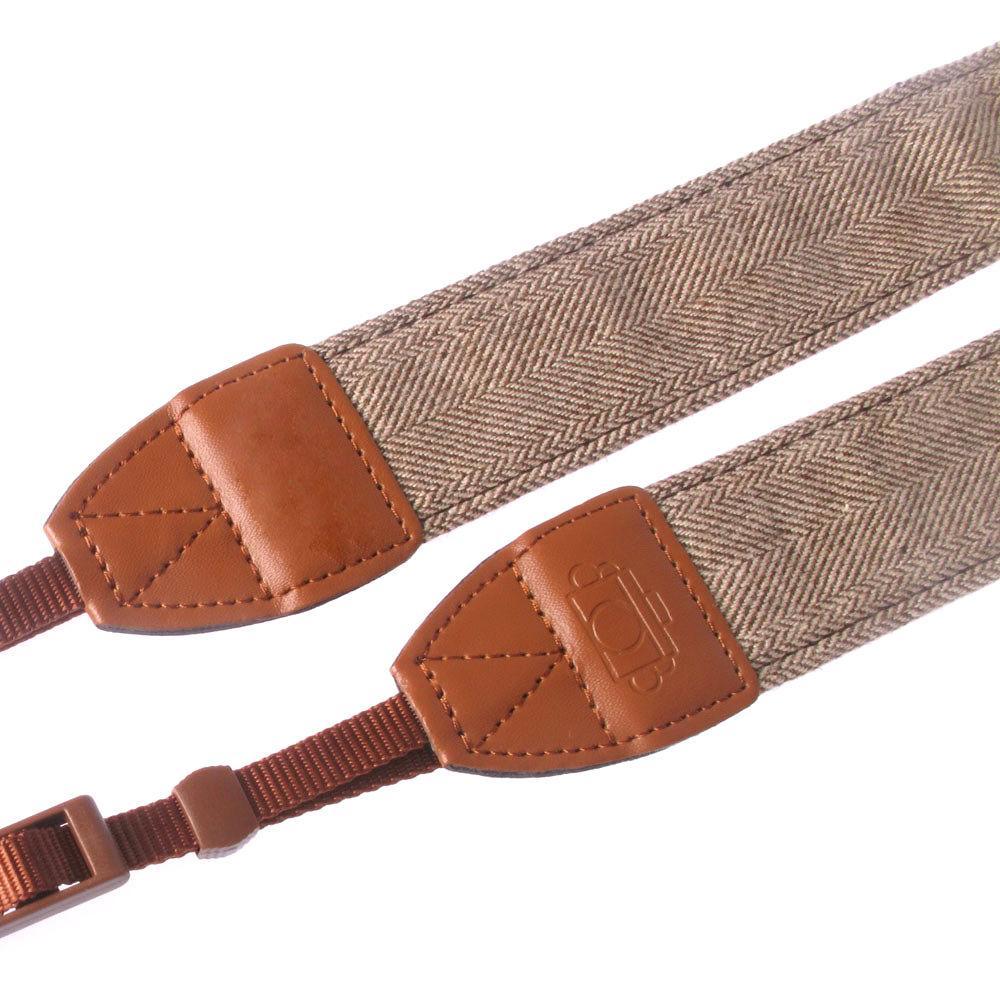 Vintage White Brown Weave Camera Neck DSLR