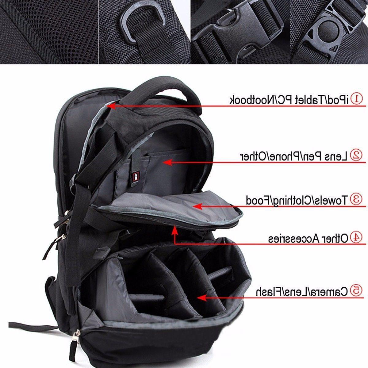 Waterproof DSLR Camera Laptop Bag Backpack Rucksack Canon EOS