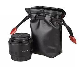 CEARI Small Leather Lens Pouch Bag for Canon Nikon Pentax So