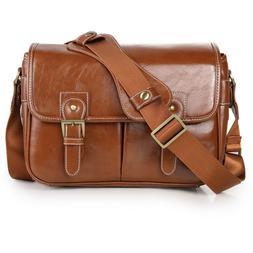 LEATHER Waterproof Vintage PU DSLR Camera Bag Shoulder Bag M