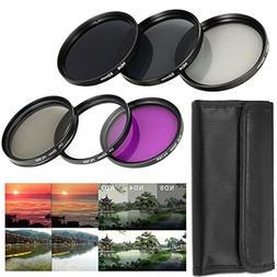 52MM Lens Filter Accessory Kit UV, CPL, FLD + ND Neutral Den