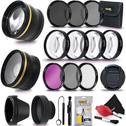52MM Professional Lens & Filters Accessories Bundle Kit for