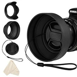 Veatree Lens Hood Set, Collapsible Rubber Lens Hood with Fil
