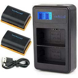 SmilePowo 2 Pack LP-E6 Battery and Dual Battery Charger with