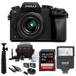 Panasonic LUMIX G7 Mirrorless Camera with 14-42mm Lens and S