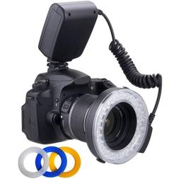 Macro LED Ring Flash & Light Includes 4 Diffusers  For The N
