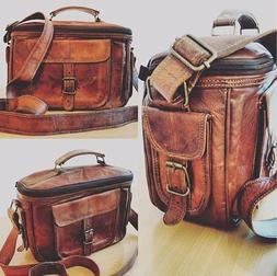 Men Genuine Leather Camera Bag Vintage Shoulder Bag for Cano