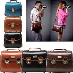 Men Women DSLR SLR Camera Bag Lens Padded PU Leather Shoulde