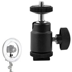 Mini Ball Head Hot Shoe Mount Adapter 360-degree Rotation wi