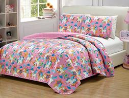 Mk Collection Full Size 3 Pc Bedspread Little Pony Pink Purp