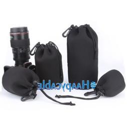 New 4pcs Neoprene Camera Lens Pouch Bag Case for DSLR Canon