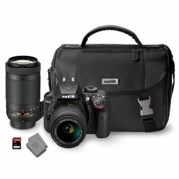 NEW Nikon D3400 24.2MP Digital SLR Camera Bundle Bag + 2 Len
