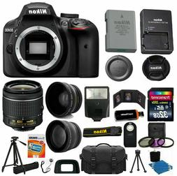 Nikon D3400 Digital SLR Camera 3 Lens Kit 18-55 VR Lens + 32