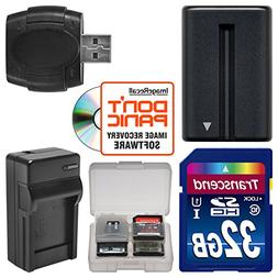 NP-FM500H Battery & Charger + 32GB SD Card Essential Bundle