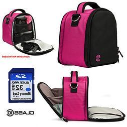 Nylon SLR Bag - Magenta Pink For Fujifilm X-Series S1, X10,
