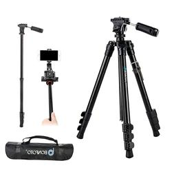 BONFOTO Portable Lightweight Aluminum Camera Tripod Pan Head