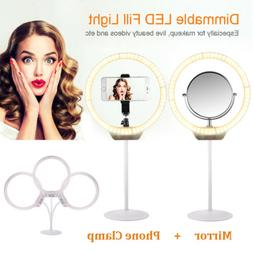 Beauty Light Dimming Desktop LED Ring Light 7.5W + Mirror fo
