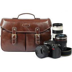 PU Leather Men Women DSLR Camera Shoulder Bag Messenger Bag