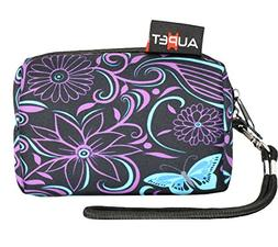 AUPET Purple Blue Flowers Digital Camera Case Bag Pouch Coin