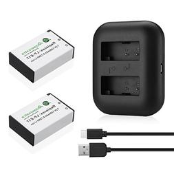 Powerextra 2 Pack Replacement Canon LP-E17 Battery and Dual