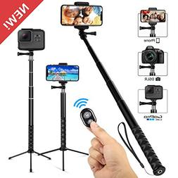 Whlzd Selfie Stick Tripod, 46 Inch Extendable Bluetooth Self