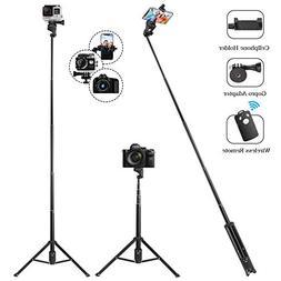 Eocean Selfie Stick Tripod, 54 Inch Extendable Camera Tripod