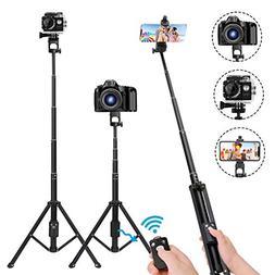 Selfie Stick Tripod,54 Inch Extendable Camera Tripod for Cel