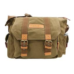 SLR Camera Bag, Bukm Waterproof Canvas DSLR Messenger Bag,Vi