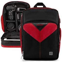 VanGoddy Sparta Fire Red DSLR & Mirrorless Camera Backpack S