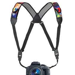 USA GEAR DSLR Camera Strap Chest Harness with Geometric Neop