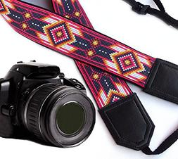 Camera strap inspired by Native Americans. Black and pink-re