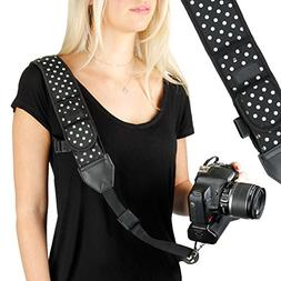 Camera Strap Shoulder Sling with Polka Dot Neoprene and Quic
