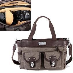 Lei Momi Stylish Women DSLR Camera and Laptop Bag, Brown & C