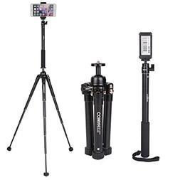 COMAN Selfie Stick Tripod Kit MT50 Lightweight for Travel wi