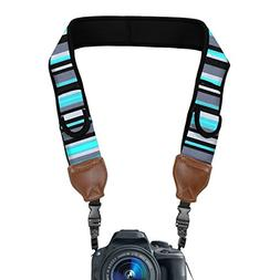 TrueSHOT Camera Strap with Blue Stripe Neoprene Pattern and